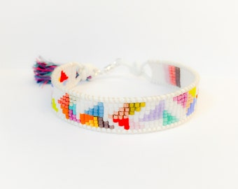 Confetti beaded bracelet with sterling silver magnetic clasp