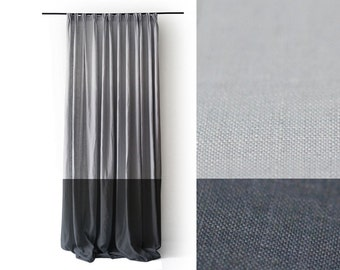Linen curtains Pinch pleat drapery panel Color block curtain Unlined or blackout lined drapes