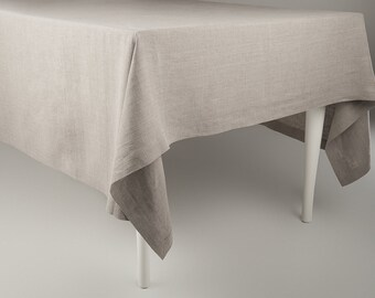 Great Tablecloth Natural Linen Tablecloth Classic Deep Hems And Mitered Corners  Custom Length Flax Grey Soft Linen