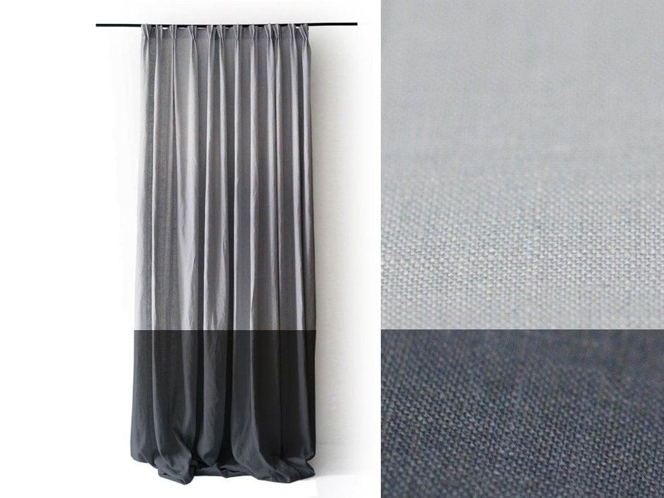 Pinch Pleat Drapes: Linen Curtains Pinch Pleat Drapery Panel Color Block Curtain