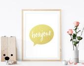 Bonjour Faux Gold Foil Poster, Hello Art Print, Wall Art, Chic Home Decor, Quote Print