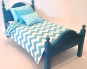 American Girl or Boy Doll: Furniture, 18 in Doll with bed blue chevron bedding