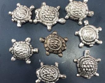 Vintage TURTLE beads.  Chinese Silver turtle beads. vintage. tortoise.  N0.0025