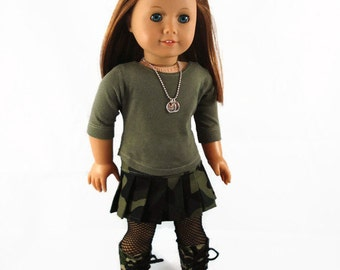 Military Outfit, 18 inch doll clothes, made to fit like American Girl® Doll doll clothes -  Camo Skirt, Shirt,  Boots  Dog Tags