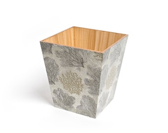 Silver Coral Waste Paper Bin Handmade wooden