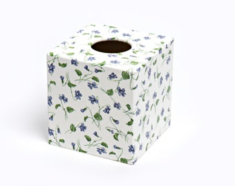 Viola Flower Tissue Box Cover wooden handmade in UK