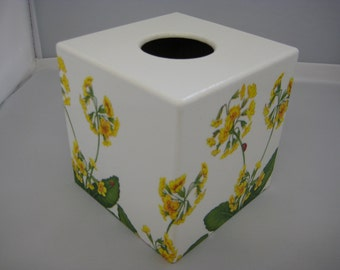 Yellow Primula Tissue Box Cover wooden perfect Gift