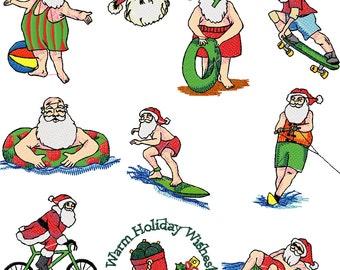 H3 20 Warm Weather Santas Embroidery Designs