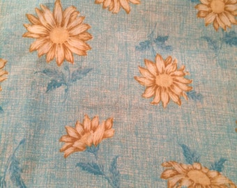 "Aqua Blue and Yellow Sunflower print, 45"" wide, 4yrds"