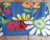 Diaper Changing Pad - travel clutch - Navy Floral