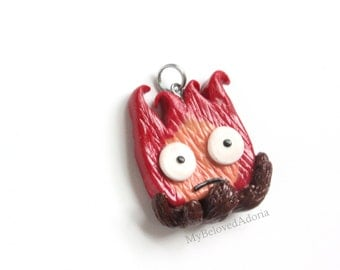 Calcifer- Howel's Moving Castle-Stitch Marker Pendant/Charm/Key chain/Zipper pull Ready To Ship!
