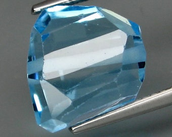 Unusual, Sky Blue Topaz, Faceted Gemstone, Drilled Bead, 11 x 11 x 7 MM , 8.68 Carat