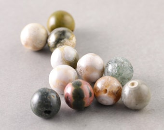 Ocean Jasper, 8mm Round Beads, Multi Color Beads, Eleven