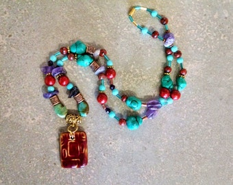 Colorful bohemian necklace, gemstone statement necklace with turquoise, coral, amethyst, gold and copper