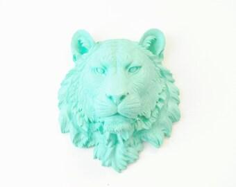 Aqua Blue Tiger Head - Tiger Head Wall Mount - Aqua Faux Taxidermy-Home Decor T63