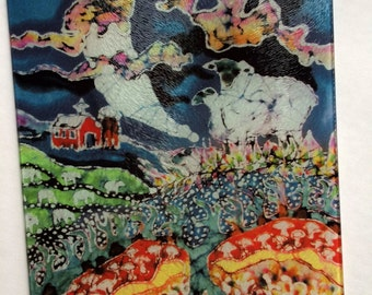 "Sheep -  ""Sheep in Moonlight  While All Sleep"" -  Tempered glass cutting board  from original batik by Carol -  8"" x 11"""