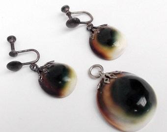Vintage Evil Eye Polished Shell Earring drops Pendant Set Unusual Green Brown
