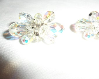 Authentic Vintage Beautiful Signed Vendome Crystal Clip OnEarrings, BRIDE, PROM, WEDDING