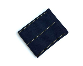 Minimalist Vegan Wallet in Black Cordura Nylon with Yellow Stitching
