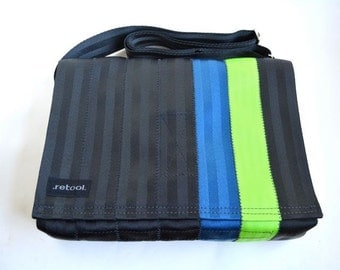 Large Seat Belt Messenger Bag - Crossbody Bag - Black / Blue / Lime Green Seatbelt Bag (M-7DX)
