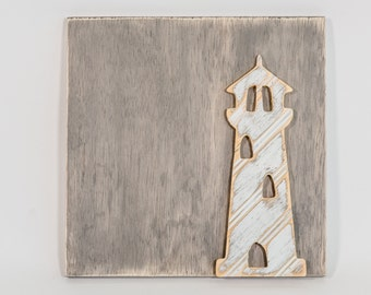 Lighthouse Wall Art, Wooden Distressed Antique Bead Board, Farm to Table, Farm Fresh, Modern Country