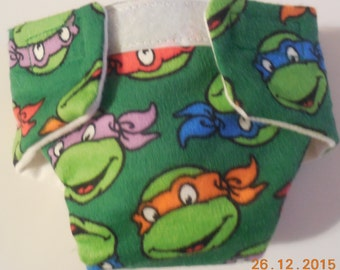 Doll diaper #3 READY TO SHIP adjustable  Cloth Ninja Turtle Turtles fits bitty baby cabbage patch and stuffed animals fur real monkey diaper