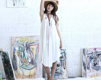 SALE  50 Off V neck white dress, oversized dress, summer white dress, Sunderss.