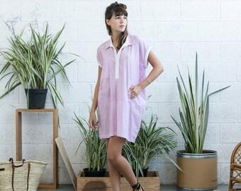 Final Summer Sale Placket Summer dress, pink tunic dress, Cotton Placket dress, Cotton Dress ,short dress .