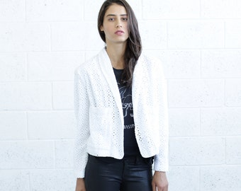 Embroidered Tailored Jacket, White.