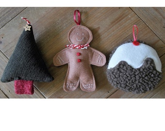 Three pack handmade Christmas decorations