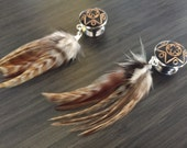 "Custom 1/2"" Natural Feather Dangle Plugs"
