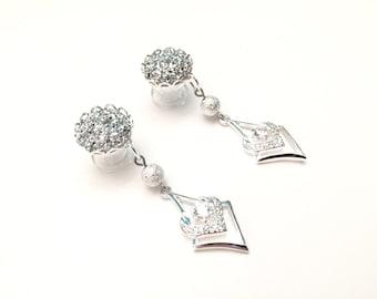 0g Dangle Plugs 4g, 2g Gauged Earrings 00g Silver Druzy Ear Tunnels Glitter Plugs 6g Crystal Ear Plugs Rhinestone Dangly Body Jewelry