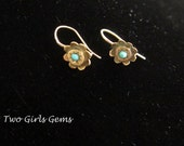 Gold Victorian turquoise earrings, 9k, Two Girls Gems