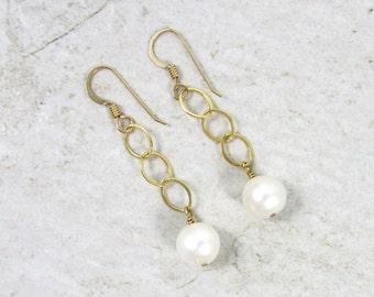 White Pearl Earrings, Gold Chain Dangle, Elegant, Christmas Gift Idea, Handmade Maui, Freshwater Pearls, Gemstone Jewelry, Bridal Fashion