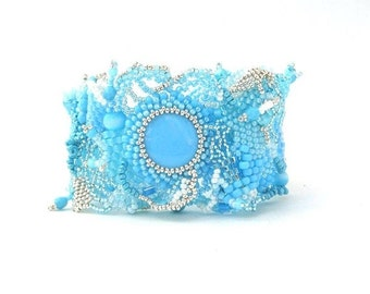 Christmas in July ON SALE Original gift Blue Beaded bracelet Summer bracelet Freeform peyote bracelet Gifts for her