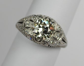 Art Deco Platinum & Diamond Filigree Engagement Ring  1.75 carats