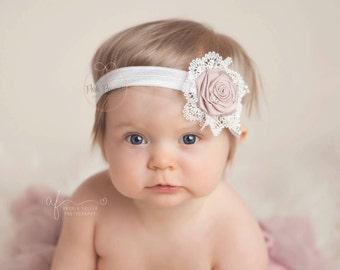 baby headband, girl headband, vintage baby headband, rosette baby headband, dusty rose headband, newborn baby headband, infant, toddler