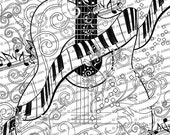 Adult Coloring Page, Printable Adult Guitar Coloring Poster, Piano Coloring Page by Juleez