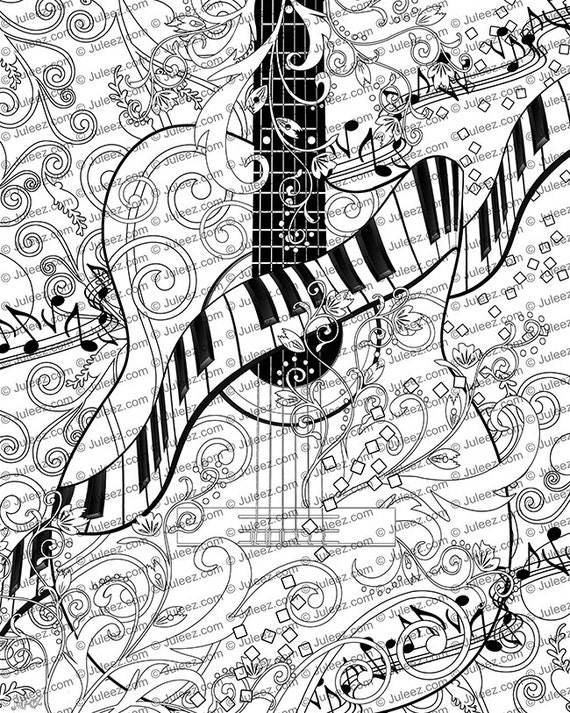 Coloring book pages for adults free ~ Adult Coloring Page Printable Adult Guitar Coloring Poster