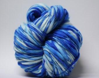 Yarn Merino Thick and Thin Handspun Wool Slub  Hand Dyed tts(tm) Bulky Self Striping miniLR 1501b half-pounder