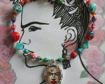 Sale was 30 now 26uk Frida Kahlo Inspired Multicoloured Day of the Dead DashAngel Doodle  Skull and Flower Necklace