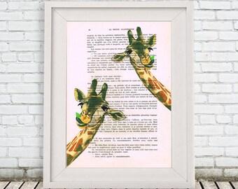 Original Giraffe Print, Illustration Digital Print Mixed Media  Art Poster Acrylic Painting Holiday Decor Drawing Gifts: 2 Giraffes x