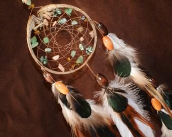 Glistining Forest Dream Catcher- Devils Claw Dream Catcher- Beaded Dream Catcher with Beautiful Feather Work