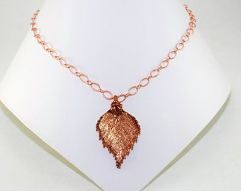 Real Leaf Jewelry Real Leaf Necklace Copper Leaf Pendant Birch Leaf Necklace Copper Dipped Pendant Botanical Jewelry Nature Jewelry