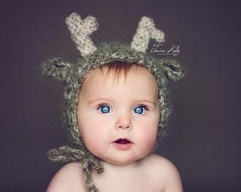 Fluffy mohair deer/reindeer bonnet. Great photo photography prop. Choose size. Rudolph. Christmas.