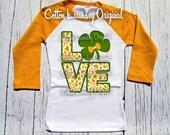St. Patrick's Day LOVE Orange raglan shirt Raglan baseball style tee St. Paddy's Day