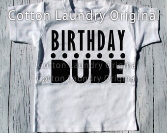 Birthday Dude tee shirt for the hipster kid Happy Birthday Boys tee shirt
