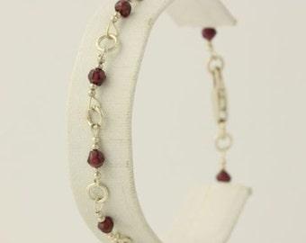 "Beaded Garnet Ankle Bracelet - Sterling Silver 925 Cable Chain 9"" Anklet H8812"