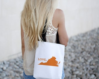 Virginia State Love Tote Bag // Travel Gift // College University Student Gift Idea // Free US shipping