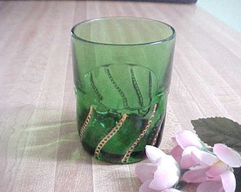 Antique Emerald Green and Gold Tumbler in the Beaded Swirl Pattern by George Duncan & Sons, EAPG Early American Pattern Glass, Pressed Glass